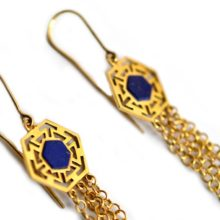 Handmade gold plated and lapis earrings by Afghan Artisans