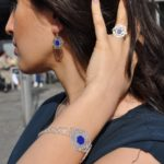 silver and lapis bracelet ring earrings by afghan artisans