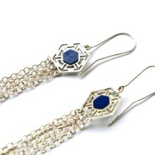 handmade silver and lapis earrings by Afghan Artisans