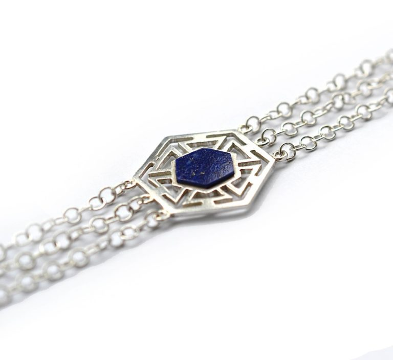 handmade silver and lapis bracelet by Afghan Artisans