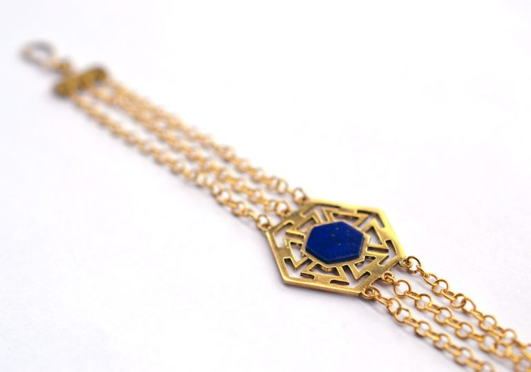 Handmade gold plated and lapis bracelet by Afghan Artisans