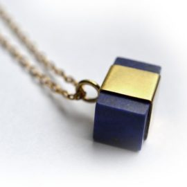 handmade gold plate and lapis necklace