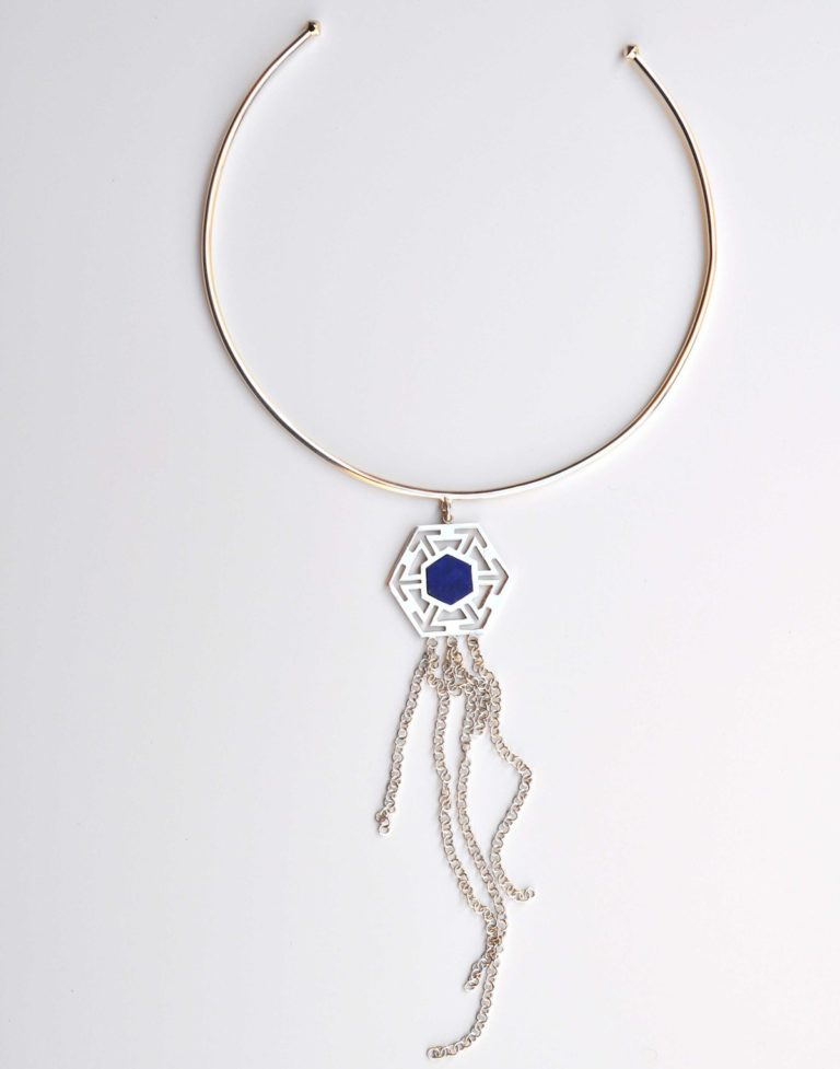 silver and lapis necklace choker by afghan artisans