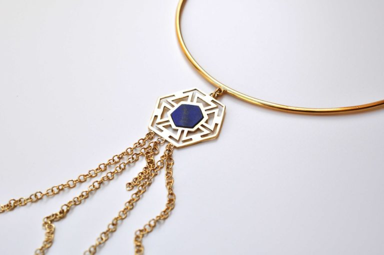 gold plated and lapis choker necklace by afghan artisans