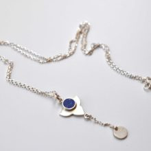 silver and lapis pendant necklace by afghan artisans